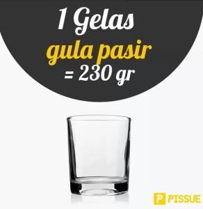 1 gelas gula pasir