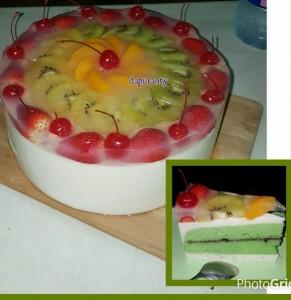 resep puding buah dan cake pandan